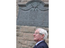 Grenville Johnston, Lord Lieutenant of Moray, alongside the Seaforths plaque on the former Drill Hall, Elgin