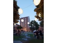 Skissbild från Utopia Arkitekter för studentbostäder på KTH Campus