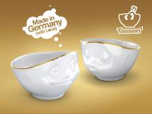Tassen skål med gullkant
