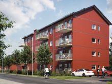 Illustration av balkongsida, BoKlok Orangeriet i Vänersborg.