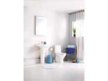 Badrum utan Triomont - system för montering av vägghängda toalettstolar och handfat