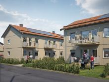 Illustration av de nya lägenheterna i BoKlok Pysslingen, Växjö. Alla med egen balkong/altan.