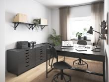 Illustration av interiör, arbetsrum, BoKlok-lägenhet 3 rok, 2019.