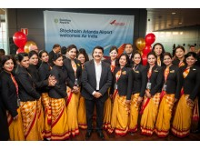 Air India crew and Pankaj Srivastava, Commercial Director at Air India
