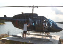 Prova helikopter på Skärgårdsfestivalen