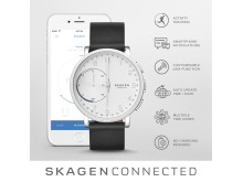 SKAGEN Connected Leather svart Hybrid Smartklokke. Pris 2195,-