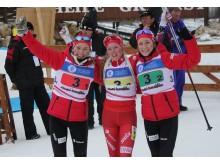 Karoline Erdal,Emilie Kalkenberg og Kristina Skjeval, stafett ungdom kvinner,junior-vm 2016