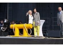 Meit Fohlin, Region Gotland och Barbara Scheel Agersnap invigde Visbys nya kryssningskaj.
