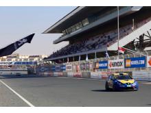 Målgång för team nr 21 Seat Leon Supercopa på Dubai Autodrome Dubai 24H