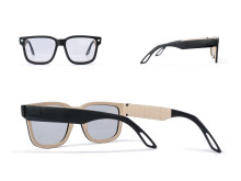 Sunglasses with electronic tint and leather details
