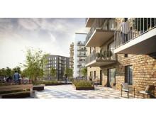 Terrasser i planerade hus i Bäckby centrum