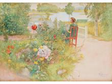"""CARL LARSSON, """"Sommar i Sundborn"""" / """"Flicka i trädgård""""."""