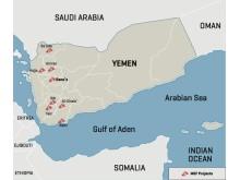 Karta över Läkare Utan Gränsers insatser  i Jemen.