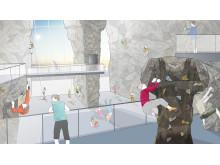 Skiss klätterhall av arkitekt Bengt Aili