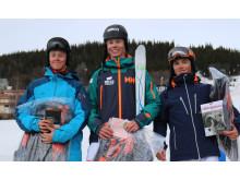 Pallen i herrarnas elitklass i parallellpuckel. Loke Nilsson (tv), Walter Wallberg (mitt) och Oskar Elofsson (th).