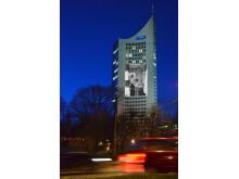Das City-Hochhaus mit Projektion zum Lichtfest