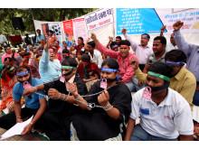 En sittande protest inför internationella kvinnodagen 8 mars