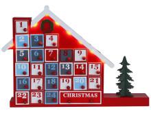 Adventskalenderhus med lådor frilagd