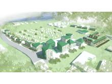 Alby Kolonipark. Illustrerad flygbild över det nya området.
