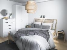 Illustration av interiör, sovrum, BoKlok-lägenhet 3 rok, 2019.