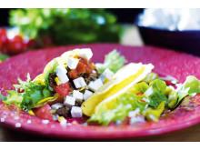 Tacos med fetaost och soltorkade tomater