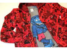 Finsta Polarn O. Pyret röd hoodtröja med t-shirt