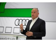 Peter Kössler, Board Member for Production and Logistics of AUDI AG, during his speech at the Annual Press Conference 2019