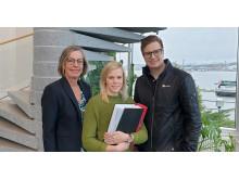 Maria Olsson Exploateringschef Övik Energi, Sara Andersson Projektledare Övik Energi och Mikael Ritola Affärsområdeschef NYAB Sverige AB.