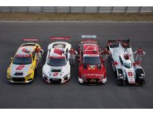 Audi TT cup (Nico Müller), Audi R8 LMS (Marcel Fässler), Audi RS 5 DTM (Miguel Molina), Audi R18 e-tron quattro (Loïc Duval)