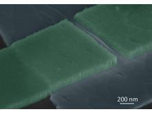 En färglagd närbild på den okonventionella supraledaren