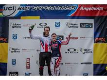 Liam Phillips från Storbritannien och Alise Post från USA vann världscuptävlingen i BMX Supercross i Ängelholm.