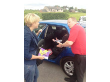 Road Safety advisor Dave Godley shows how to properly secure car seats at the Buttercups Nursery in Heywood