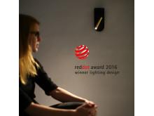 Sänglampa vinner reddot award 2016. Bild 1.