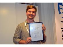 Filip Eklund, miljöansvarig på Göteborgs kulturkalas,  tog emot priset Hållbara event för satsningen Engångsfritt kulturkalas.