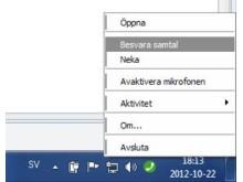 Besvara samtal i aktivitetsfältet på PC med Efftel Max Softphone