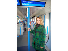 On board, Samantha Radford, from Gordon Hill, who travelled on the first passenger service from Moorgate to Gordon Hill