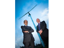 WIND OF CHANGE: Rochdale Borough Council's leader Councillor Colin Lambert with Councillor Peter Williams, Cabinet Member for Economic Development and Customer Services, at the site of the pilot turbine