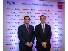 Robert Lujan, Electric Vehicle Director, Nissan Global (left), Cyrille Brisson, Vice President Electrical, Eaton EMEA (right)