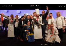 Svenska Kocklandslaget firar vinsten i VM i Luxemburg, november 2018