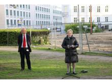 Per Kristian Madsen og Marianne Jelved - med Frihedsmuseets grund i baggrunden