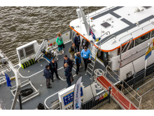 Hi res image - Oceanology International - Oi16 People on board demo vessel