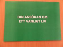 """Kuvert """"Ansökan om ett vanligt liv""""."""