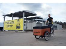 Anders Nygårds på elassisterad lådcykel