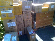 Boxes containing equipment that was seized.