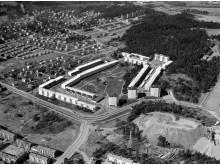 Flygbild stamgatan. Gamla Östberga, 1961.