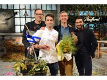 Dessertmästarnas jury Magnus Johansson, Sebastien Boudet och Roy Fares tillsammans med vinnaren av säsong 6, Josef Assio. Foto: Kanal 5