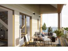 Visualiserad bild av balkongen i brf Akraden