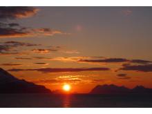Midnight sun in Lyngenfjord.