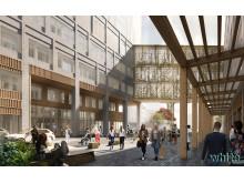 Nya vårdbyggnaden på Malmö sjukhusområde, passagen. Illustration: White