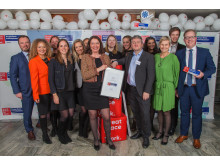 FULL JUBEL:  Gjengen fra Sopra Steria er storfornøyd med enda en førsteplass i kåringen Norges beste arbeidsplass.